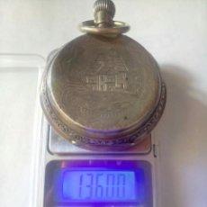 Relojes de bolsillo: ANTIGUO RELOJ DE PLATA 3 TAPAS ESFERA DE PORCELANA REMONTOIR ANCRE LIGNE DROITE. Lote 130104423