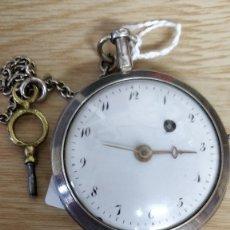 Relojes de bolsillo: RELOJ CATALINO DE BOLSILLO DE PLATA. CUERDA EN LA ESFERA. ADELANTA. LLAVE ORIGINAL. Lote 56148182