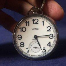 Relojes de bolsillo: RELOJ BOLSILLO VERNI USSR RUSSIA NO FUNCIONA CON LEONTINA CADENA 44MM. Lote 131570710