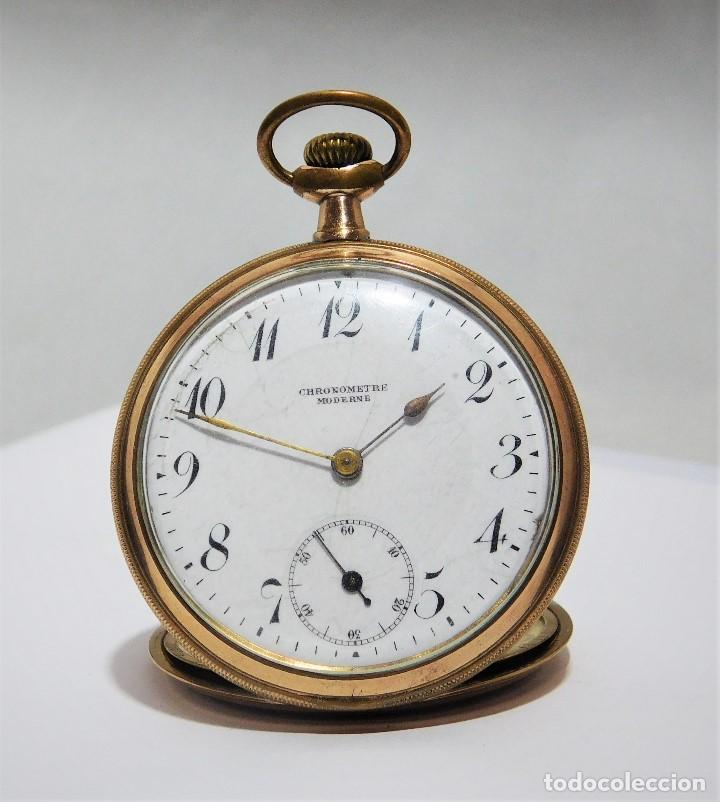 CHONOMETRE MODERNE-2 TAPAS-RELOJ DE BOLSILLO-CIRCA 1920-FUNCIONANDO- (Relojes - Bolsillo Carga Manual)