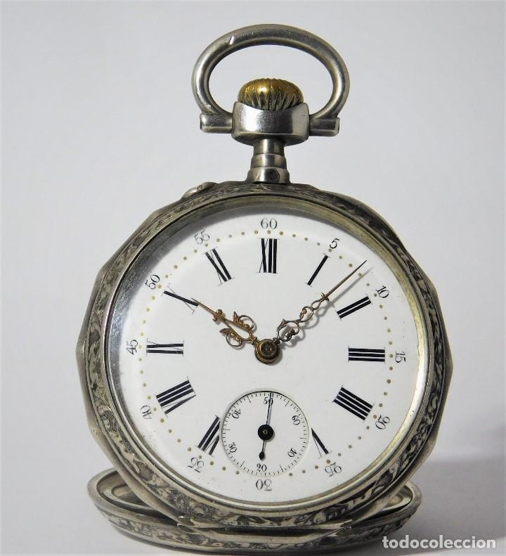 RELOJ LEPINÉ CYLINDRE-3 TAPAS-RELOJ DE BOLSILLO DE PLATA-FRANCIA-CIRCA 1890-FUNCIONANDO- (Relojes - Bolsillo Carga Manual)