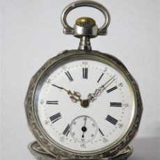 Relojes de bolsillo: RELOJ LEPINÉ CYLINDRE-3 TAPAS-RELOJ DE BOLSILLO DE PLATA-FRANCIA-CIRCA 1890-FUNCIONANDO-. Lote 132807143