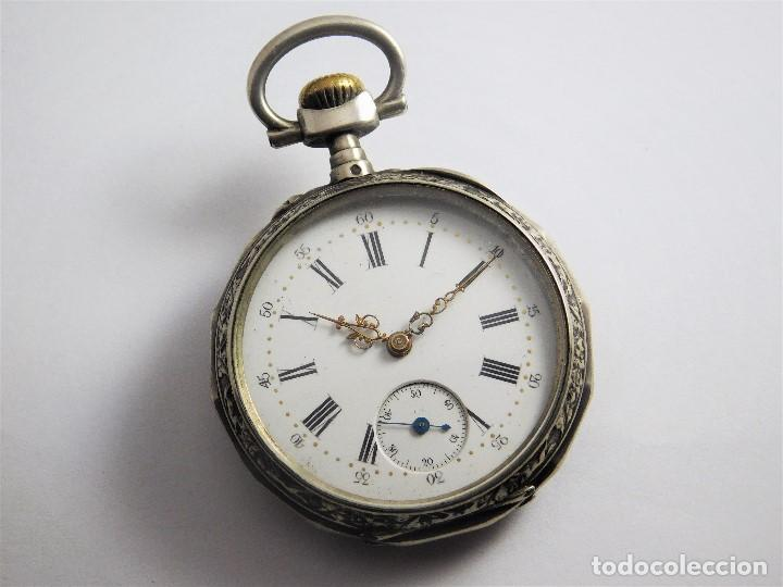 Relojes de bolsillo: RELOJ LEPINÉ CYLINDRE-3 TAPAS-RELOJ DE BOLSILLO DE PLATA-FRANCIA-CIRCA 1890-FUNCIONANDO- - Foto 12 - 132807143
