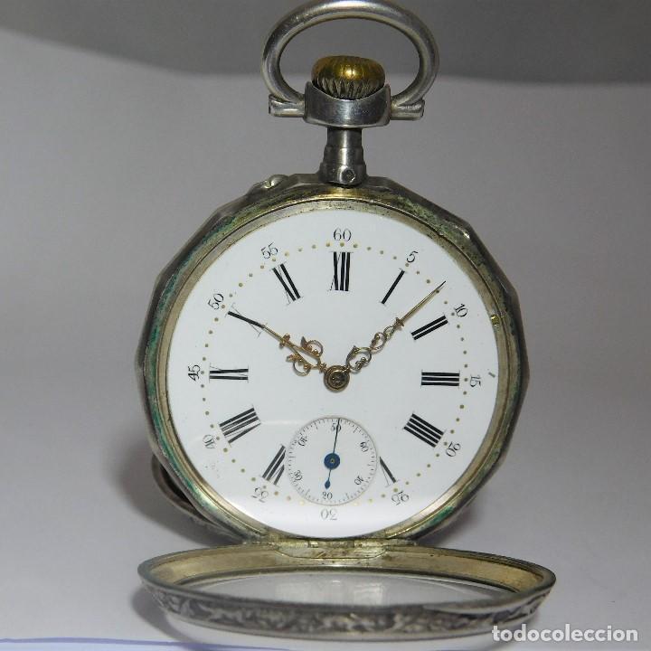 Relojes de bolsillo: RELOJ LEPINÉ CYLINDRE-3 TAPAS-RELOJ DE BOLSILLO DE PLATA-FRANCIA-CIRCA 1890-FUNCIONANDO- - Foto 15 - 132807143