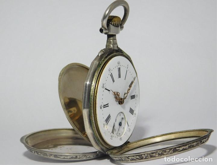 Relojes de bolsillo: RELOJ LEPINÉ CYLINDRE-3 TAPAS-RELOJ DE BOLSILLO DE PLATA-FRANCIA-CIRCA 1890-FUNCIONANDO- - Foto 16 - 132807143