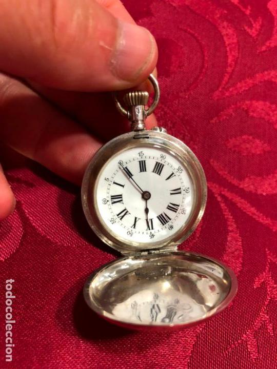 RELOJ DE BOLSILLO DE PLATA FINAL SIGLO XIX - REMONTOIR 10 RUBIS - FUNCIONANDO PERFECTAMENTE (Relojes - Bolsillo Carga Manual)