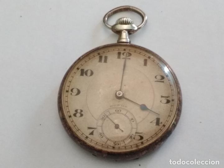 ANTIGUO RELOJ BOLSILLO DE PLATA, MUÑOZ, 45 MM, , ESTA FUNCIONANDO (Relojes - Bolsillo Carga Manual)