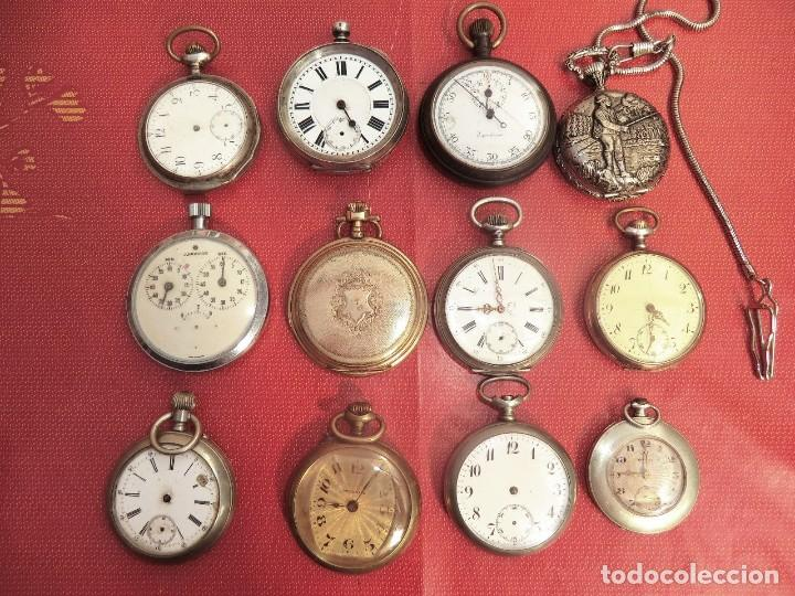¡¡GRAN OFERTA !!!GRAN LOTE DE 9 RELOJES BOLSILLO -ALGUNOS EN PLATA- LOTE 80- PARA RESTAURAR PIEZAS (Relojes - Bolsillo Carga Manual)