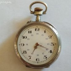 Relojes de bolsillo: RELOJ DE BOLSILLO CABALLERO, FUNCIONANDO NECESITA REVISION, MEDIDA 40 MM, PLATA. Lote 133597006
