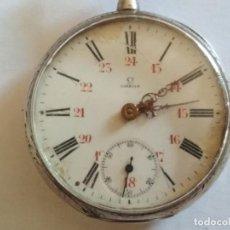 Relojes de bolsillo: RELOJ DE BOLSILLO CABALLERO, MARCA OMEGA, NO FUNCIONA, MEDIDA 45 MM, LABRADO, PLATA. Lote 133597618