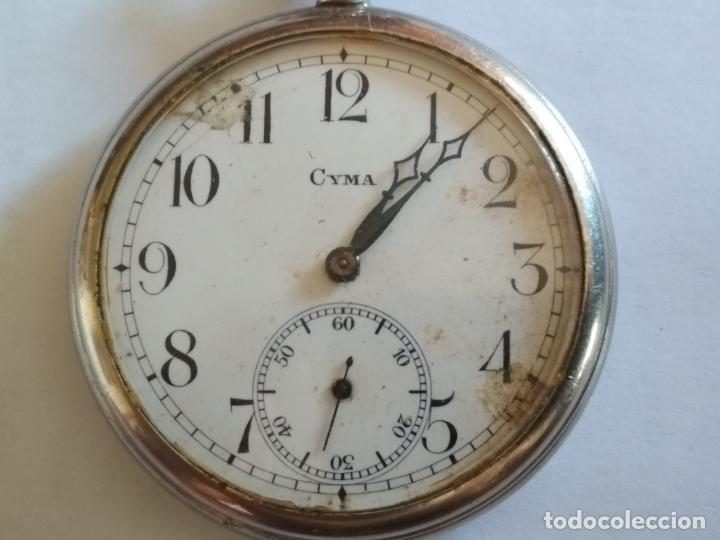 RELOJ DE BOLSILLO, MARCA CYMA, NO FUNCIONA, MEDIDA 50 MM, ACERO (Relojes - Bolsillo Carga Manual)