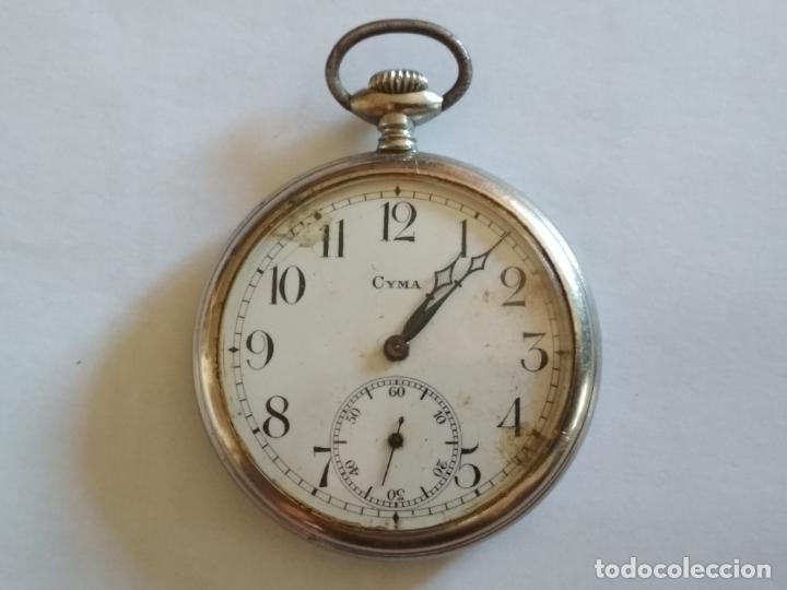Relojes de bolsillo: RELOJ DE BOLSILLO, MARCA CYMA, NO FUNCIONA, MEDIDA 50 MM, ACERO - Foto 2 - 216505570