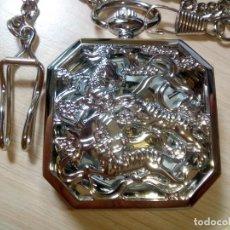 Relojes de bolsillo: RELOJ EXAGONAL PLATEADO CON LEONTINA.. Lote 194895987