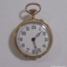 Relojes de bolsillo: RELOJ. TIPO LEPINE, CAJA DE ORO, ESFERA PORCELANA ARABIGO. MAQUINA CON ESCAPE CILINDRO. FACTURA. VER. Lote 134166054