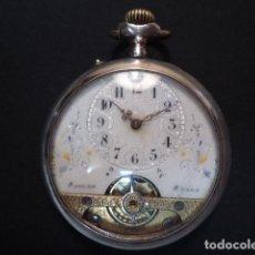 Relojes de bolsillo: RELOJ BOLSILLO ANTIGÜO, LEPINE PLATA, 8 DIAS CUERDA, SUIZA , PP S. XX, FUNCIONANDO. Lote 134373030