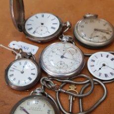 Relojes de bolsillo: RELOJES DE BOLSILLO AVERIADOS DOS DE ELLOS DE PLATA. Lote 134402866