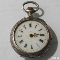 Relojes de bolsillo: RELOJ DE BOLSILLO CAJA LABRADA, MEDIDA 30 MM, NO FUNCIONA, PLATA. Lote 135026522