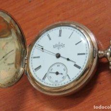 Relojes de bolsillo: PRECIOSO RELOJ DE BOLSILLO SABONETA MARCA ELGIN CHAPADO ORO DE 14 K, COMPLETO LABRADO, FUNCIONA. Lote 135215250