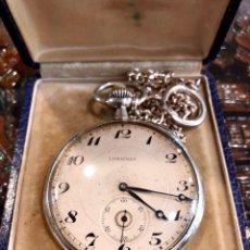 Relojes de bolsillo: RELOJ LONGINES DE PLATA EN CAJA. Lote 135879817