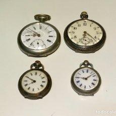 Relojes de bolsillo: CUATRO RELOJES DE BOLSILLO DE PLATA DE FINALES DEL SIGLO XIX Y PRINCIPIOS DEL SIGLO XX.. Lote 136562002