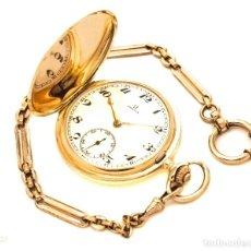 Relojes de bolsillo: PRECIOSO RELOJ DE BOLSILLO SABONETA, DE ORO MACIZO 14K DE LA MARCA OMEGA DE ORIGEN SUIZO, CIRCA 1900. Lote 137201014