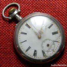 Relojes de bolsillo: PLATA REPUJADA - RELOJ DE CABALLERO - PESO 60 GRAMOS - DIAMETRO 48 MM - CON MARCAJES - G. BARRIE. Lote 137345346