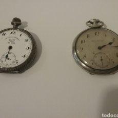 Relojes de bolsillo: PAREJA DE RELOJES BOLSILLO EN PLATA MARCA ZEDA WATCH Y CRONÓMETRO EL SOL. NO FUNCIONAN. Lote 137645044