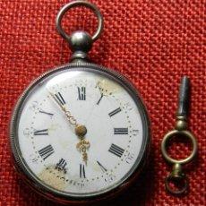 Relojes de bolsillo: CAJA DE PLATA DE 800 MILESIMAS - CABALLERO - SISTEMA CILINDRO - 70 GRAMOS - 43 MNM. MARCAJES. LLAVE. Lote 137907522