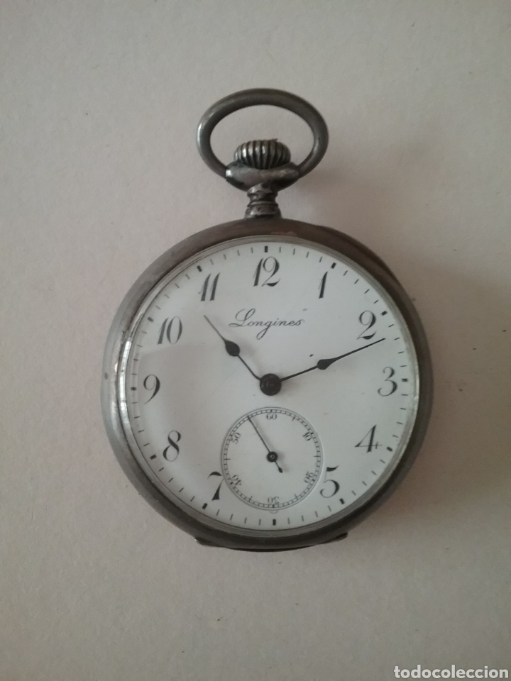 RELOJ BOLSILLO LONGINES EN PLATA. FUNCIONA (Relojes - Bolsillo Carga Manual)