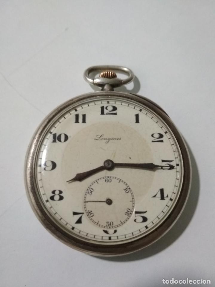 ANTIGUO RELOJ DE BOLSILLO, MARCA LONGINES, PLATA, FUNCIONANDO (Relojes - Bolsillo Carga Manual)
