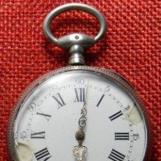 Relojes de bolsillo: RELOJ DE CARGA MANUAL SISTEMA CILINDRO . CABALLERO . CAJA DE PLATA 800 MILESIMAS - 47 MM DIAMETRO. Lote 138686862