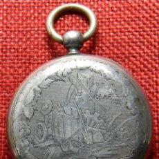 Relojes de bolsillo: PLATA 800 MILESIMAS. RELOJ DE CARGA MANUAL SISTEMA CILINDRO - SIN LLAVE - CABALLERO - 48 MM. Lote 138688910