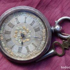 Relojes de bolsillo: RELOJ BOLSILLO DE PLATA MUY BONITO ESTROPEADO DE 1850 APROX.. Lote 139148998