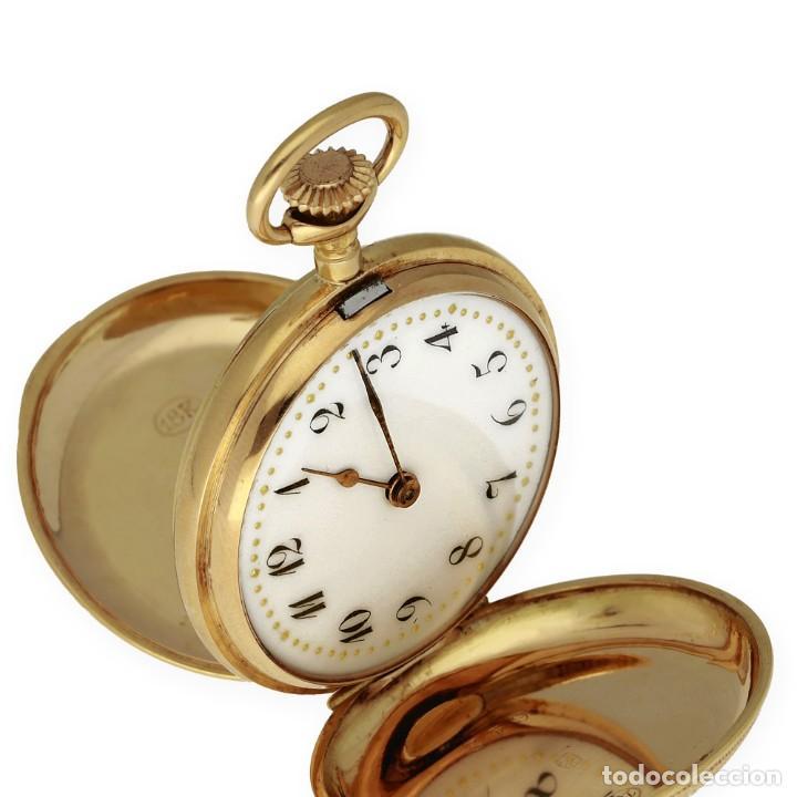 Relojes de bolsillo: Paten Medailles Oro Rosa de Ley Reloj de Bolsillo Movimiento de Cuerda Año 1896 - Foto 2 - 139399974