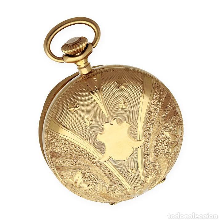 Relojes de bolsillo: Paten Medailles Oro Rosa de Ley Reloj de Bolsillo Movimiento de Cuerda Año 1896 - Foto 3 - 139399974