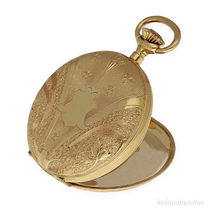 Relojes de bolsillo: Paten Medailles Oro Rosa de Ley Reloj de Bolsillo Movimiento de Cuerda Año 1896 - Foto 4 - 139399974