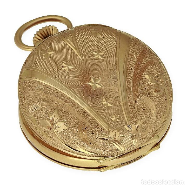 Relojes de bolsillo: Paten Medailles Oro Rosa de Ley Reloj de Bolsillo Movimiento de Cuerda Año 1896 - Foto 5 - 139399974