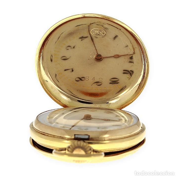 Relojes de bolsillo: Paten Medailles Oro Rosa de Ley Reloj de Bolsillo Movimiento de Cuerda Año 1896 - Foto 6 - 139399974