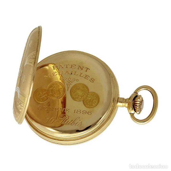 Relojes de bolsillo: Paten Medailles Oro Rosa de Ley Reloj de Bolsillo Movimiento de Cuerda Año 1896 - Foto 8 - 139399974