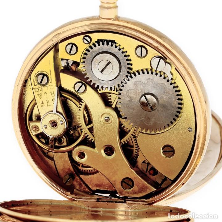 Relojes de bolsillo: Paten Medailles Oro Rosa de Ley Reloj de Bolsillo Movimiento de Cuerda Año 1896 - Foto 9 - 139399974