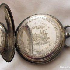 Relojes de bolsillo: RELOJ DE BOLSILLO ANTIGUO FERROVIARIO TAVANNES PLATA. Lote 140527066