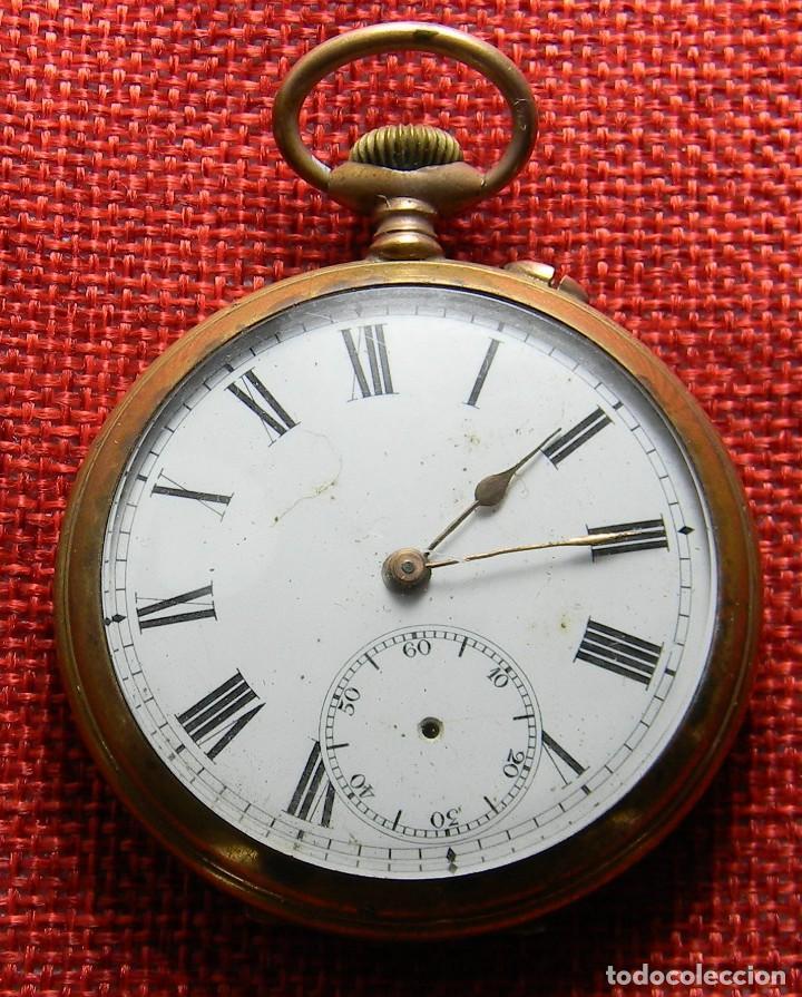 RELOJ CABALLERO DE CARGA MANUAL DE BRONCE. 49 MM SIN CORONA. 65 GRAMOS. NUMERADO. BREVETS. SUIZA (Relojes - Bolsillo Carga Manual)
