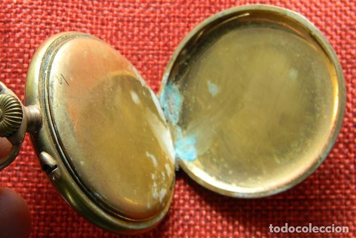 Relojes de bolsillo: Reloj caballero de carga manual de bronce. 49 mm sin corona. 65 gramos. Numerado. Brevets. Suiza - Foto 6 - 141234402