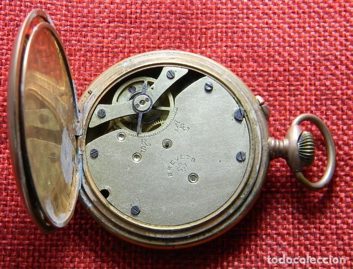 Relojes de bolsillo: Reloj caballero de carga manual de bronce. 49 mm sin corona. 65 gramos. Numerado. Brevets. Suiza - Foto 7 - 141234402