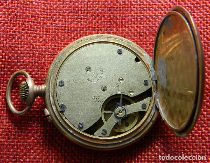 Relojes de bolsillo: Reloj caballero de carga manual de bronce. 49 mm sin corona. 65 gramos. Numerado. Brevets. Suiza - Foto 9 - 141234402