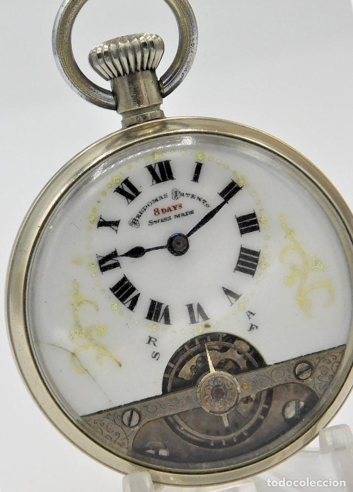 HEBDOMAS-RELOJ DE BOLSILLO-8 DÍAS--FINAL SIGLO XIX / PRINCIPIO SIGLO XX-FUNCIONANDO- (Relojes - Bolsillo Carga Manual)