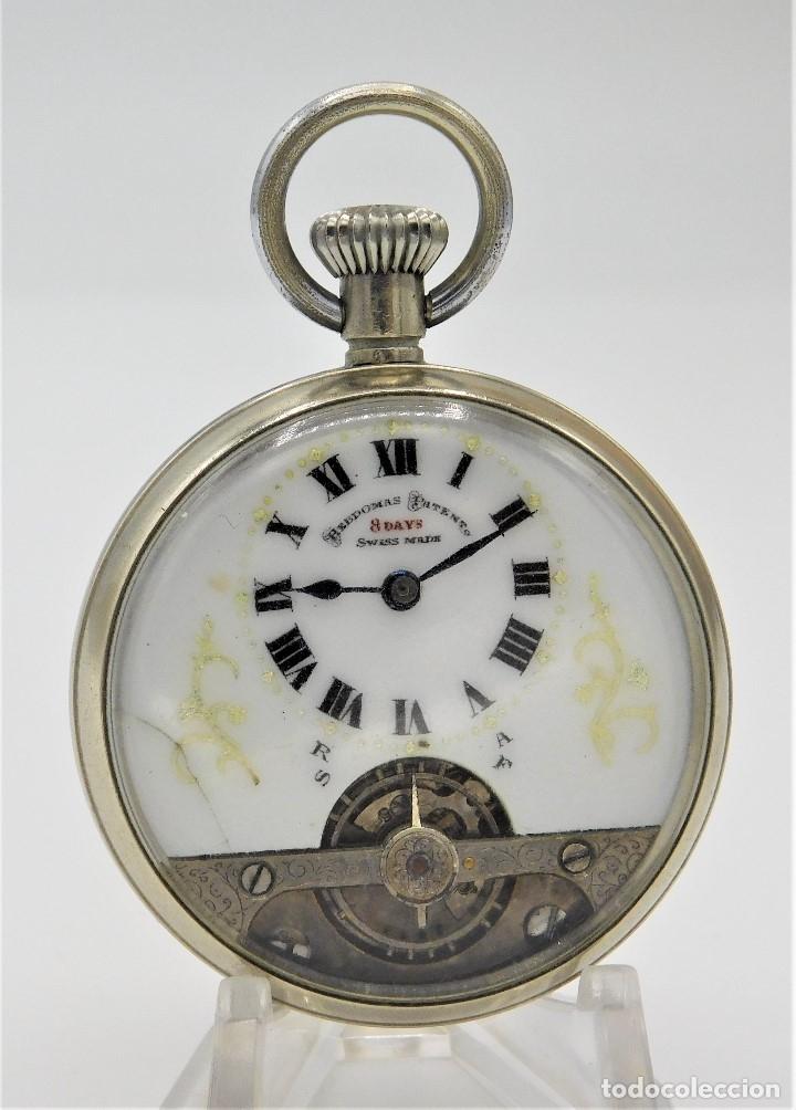 Relojes de bolsillo: HEBDOMAS-RELOJ DE BOLSILLO-8 DÍAS--FINAL SIGLO XIX / PRINCIPIO SIGLO XX-FUNCIONANDO- - Foto 3 - 141717322