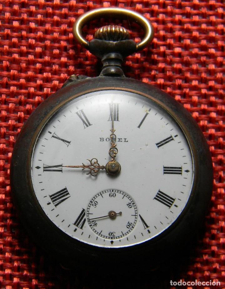 ANTIGUO RELOJ BOLSILLO - MARCA BOREL - PAVONADO - 22 GRAMOS – 31 MM – NUMERADO. A REPARAR. (Relojes - Bolsillo Carga Manual)