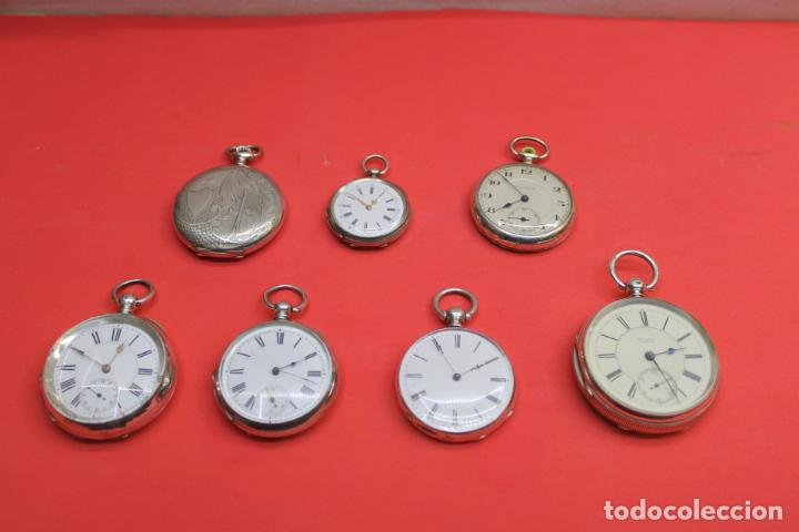 LOTE DE SIETE RELOJES DE BOLSILLO DE PLATA DE LEY (Relojes - Bolsillo Carga Manual)