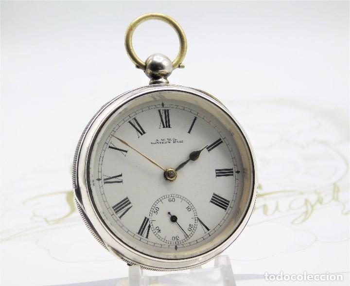 WALTHAM-RELOJ BOLSILLO-DE PLATA-CIRCA 1890-FUNCIONANDO-3 TAPAS (Relojes - Bolsillo Carga Manual)